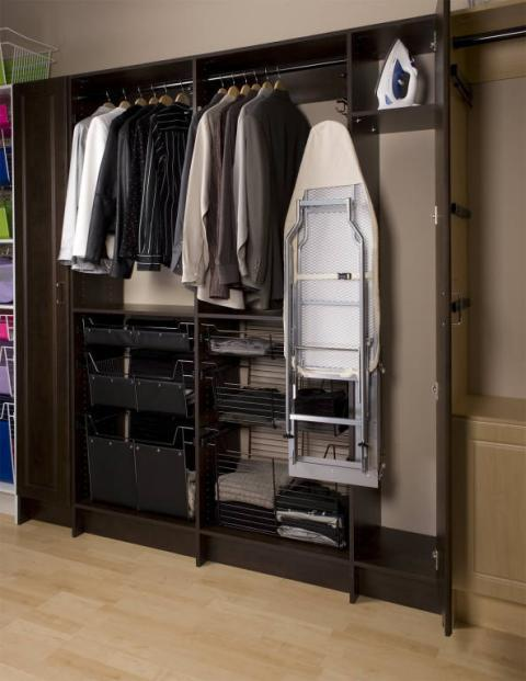 Traditional Closet with white metal basket storage units