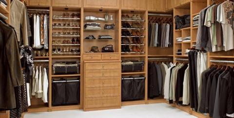 Contemporary Closet with custom organization storage