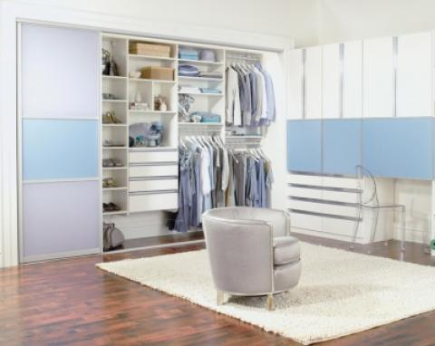 Contemporary Closet with blue laminate cabinet doors