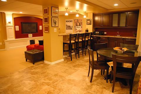 Casual / Comfortable Basement with round top dining table and chairs