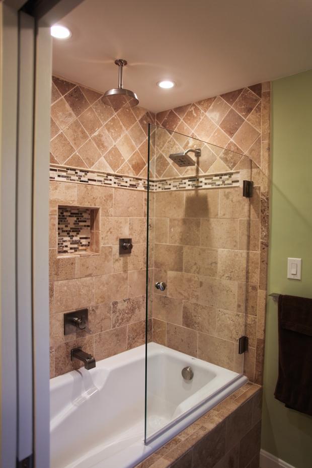Mediterranean bathroom in lexington shower head shower niche by mulberry builders llc for Bathroom remodel lexington ky