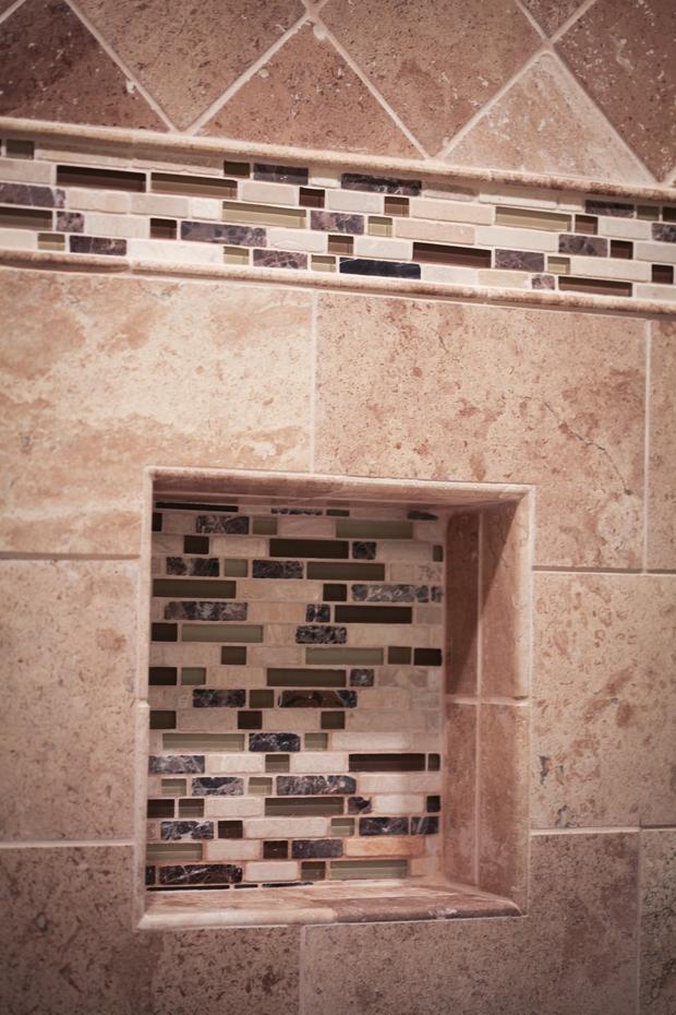 Southwestern bathroom in lexington mosaic tile tumbled for Bath remodel lexington ky