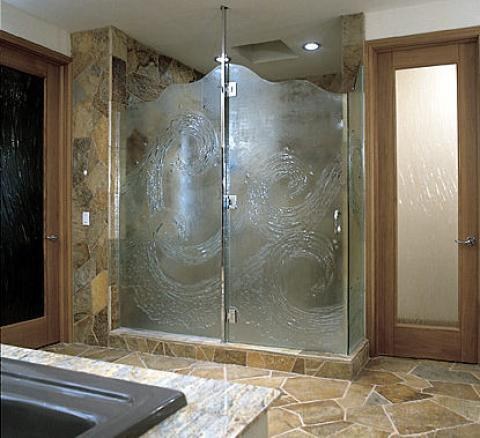 Transitional Master Bathroom with light wood bathroom door with large glass panel