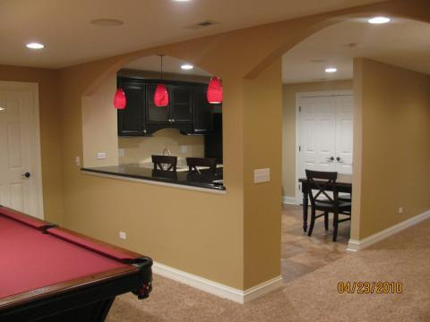 Traditional Basement with entertaining area in basement