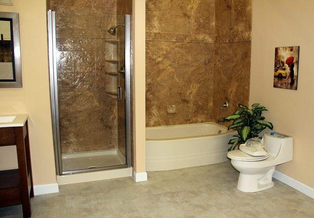 Transitional Bathroom In Grand Rapids Ceramic Tile Surround High Efficiency Toilet By