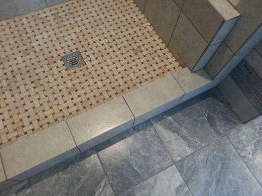Contemporary Bathroom In Denver Ceramic Tile Basket Weave Shower Floor Tile Pattern By