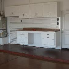 Contemporary Garage with acid stained concrete floor