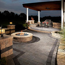 Traditional Patio with night time accent lighting