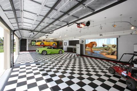 Contemporary Garage with checkerboard pattern garage floor tiles