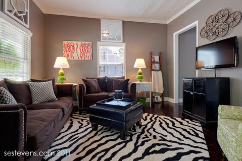 Eclectic Family Room with brown upholstered furniture