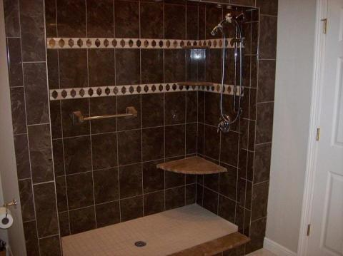 Eclectic Bathroom with custom tile shower surround