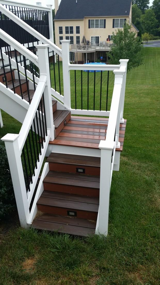 Traditional Deck with brown composite deck