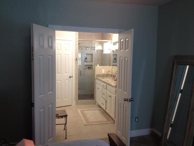 Transitional Bathroom In Arlington White Raised Panel Cabinets White Panel Double Doors By