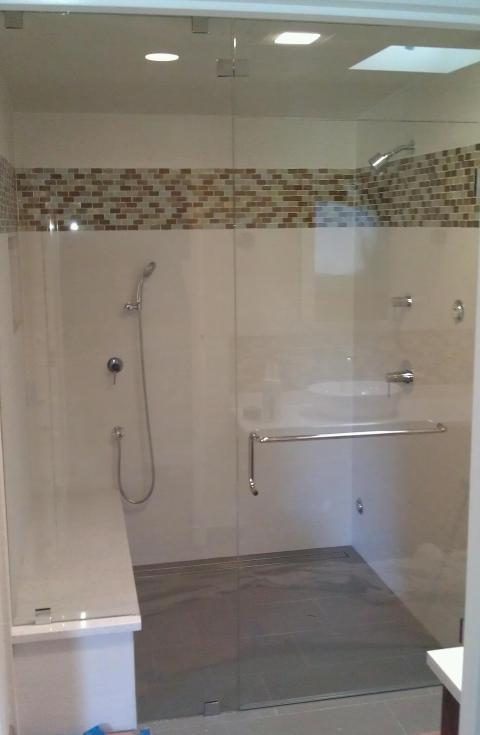 Transitional Bathroom with white tile shower wall covering