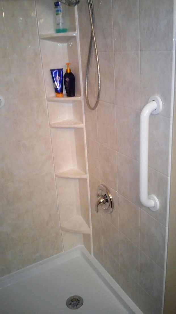 Transitional Bathroom In Columbus Built In Shower Caddy