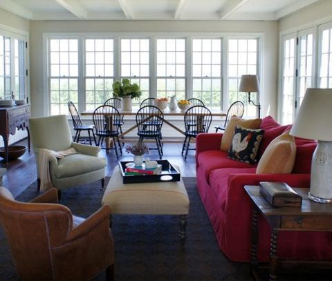 Eclectic Family Room with dining room furniture