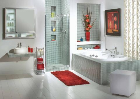 Contemporary Bathroom with modern style wall hung medicine cabinet