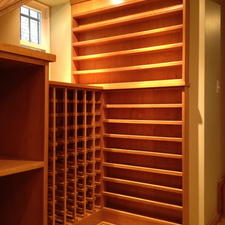 Modern Wine Cellar with storage shelves