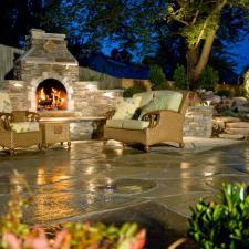 Transitional Patio with stone brick outdoor fire place