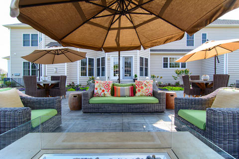 Contemporary Patio with stamped concrete patio pad