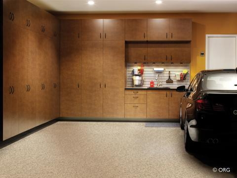 Contemporary Garage with tan laminate garage flooring