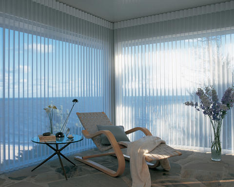 Modern Sunroom with from ceiling to floor vertical blinds