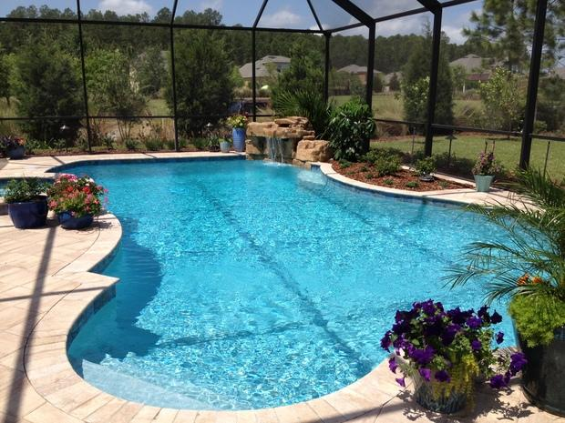 Pool in jacksonville sandstone deck and edge tile by for Pool design jacksonville fl