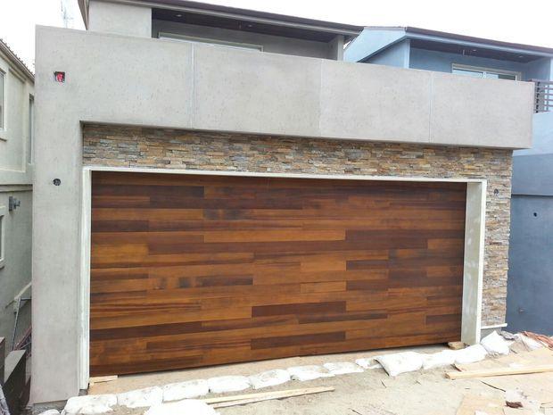 Contemporary garage in torrance wood garage door stucco for Garage door repair torrance