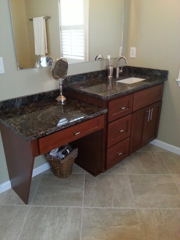 Transitional bathroom in alpharetta stone backsplash for Bath remodel alpharetta