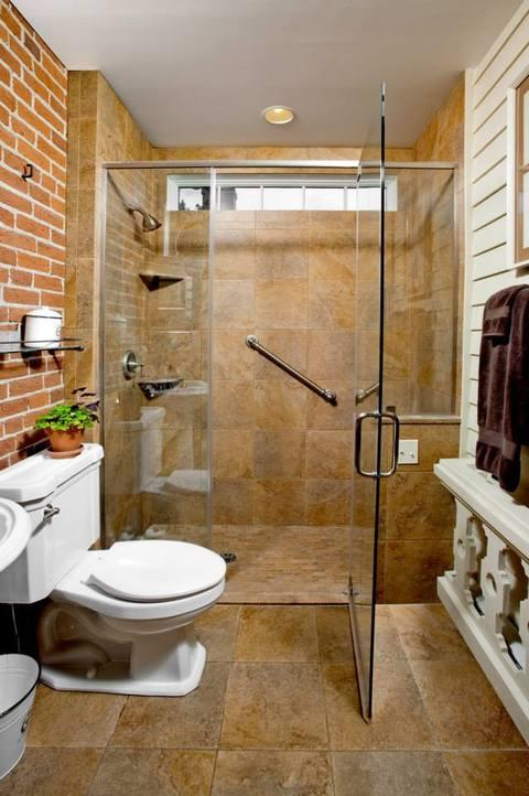 Eclectic Bathroom with chrome framed shower door