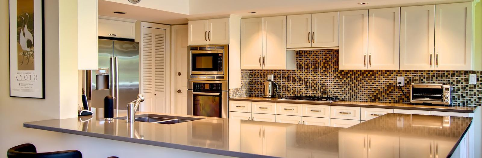 Contemporary Kitchen with mission style cabinet door