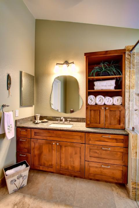 Traditional Bathroom with chrome cabinet hardware