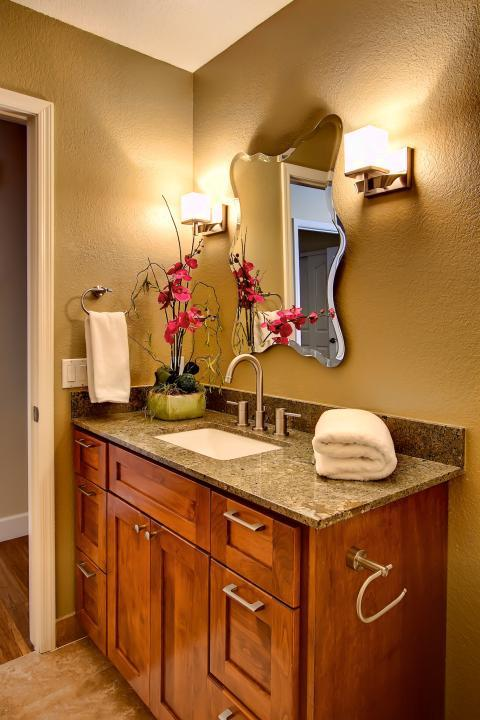 Contemporary Bathroom with brushed nickel cabinet hardware