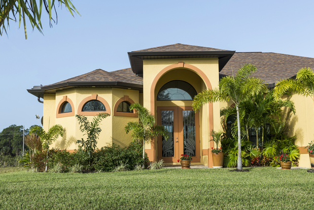 Mediterranean Home Exterior In Phoenix Palm Trees Shingled Roof By Frameless Glass Llc