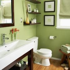Transitional Bathroom with dark wood framed vanity mirror