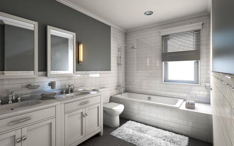 Contemporary Bathroom with his and her individual framed vanity mirror