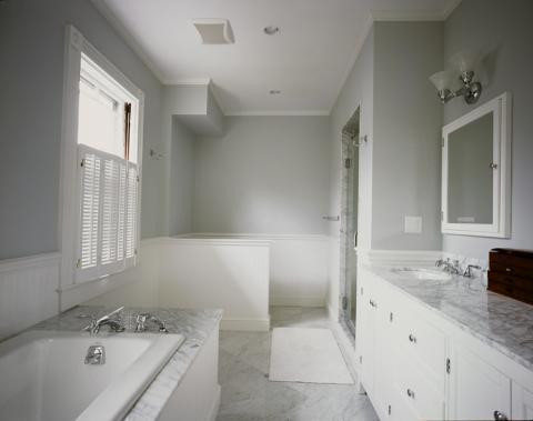 Transitional Master Bathroom with mirrored medicine cabinet