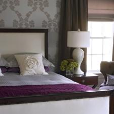 Transitional Bedroom with silk curtains westchester ny