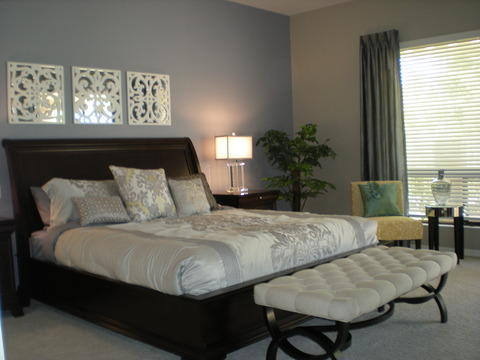 Transitional Bedroom with mirrors with filigree overlay