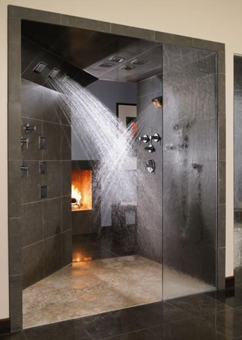 Modern Bathroom with textured dividing glass shower wall