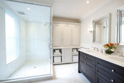 Transitional Bathroom with wall mounted square vanity mirrors