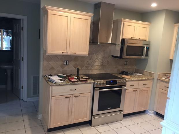 Transitional Kitchen In Danbury Recess Panel Blond Cabinets Ceramic Tile Backsplash By