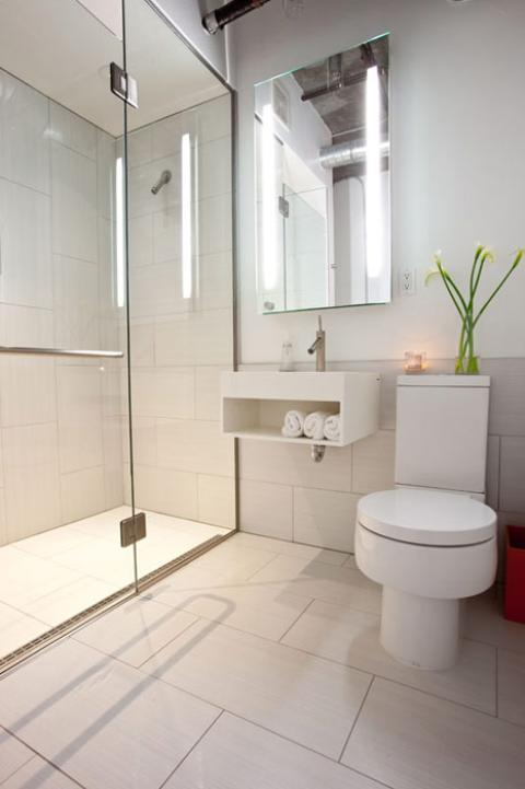 Contemporary Bathroom with white porcelain tile shower wall covering