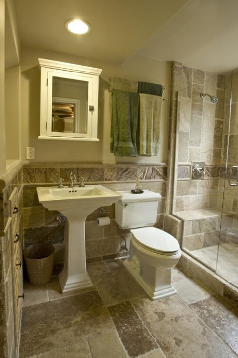 Traditional Bathroom with cabinet crown moulding