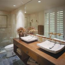 Contemporary Bathroom with white shutter style window covering