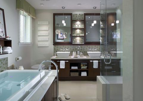 Contemporary Bathroom with dark wood stained vanity cabinet
