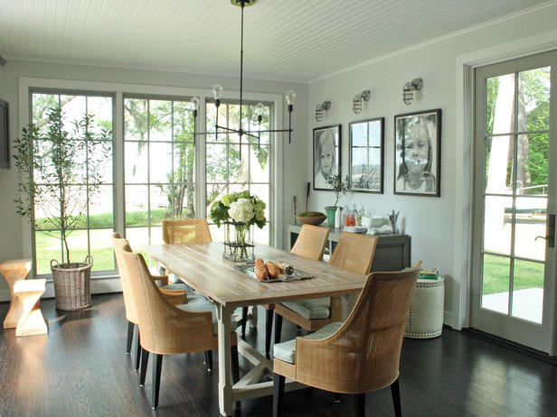 Transitional Dining Room in Aurora - black accents, white ...