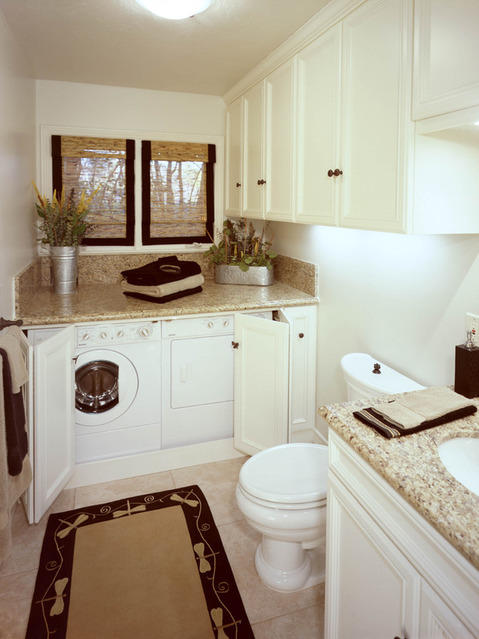 Transitional Bathroom with transitional style bathroom and laundry room combo