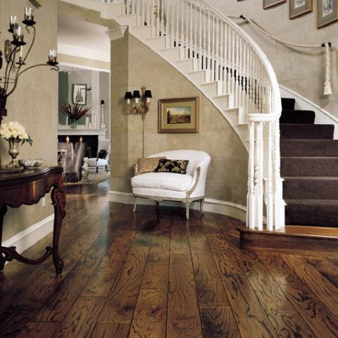 Traditional Entry with dark purple carpeted stairs