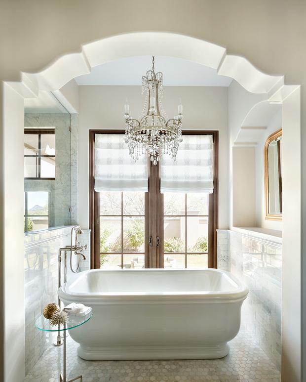 Shabby Chic Bathroom In Scottsdale French Door White Roman Shade By Luster Custom Homes Llc